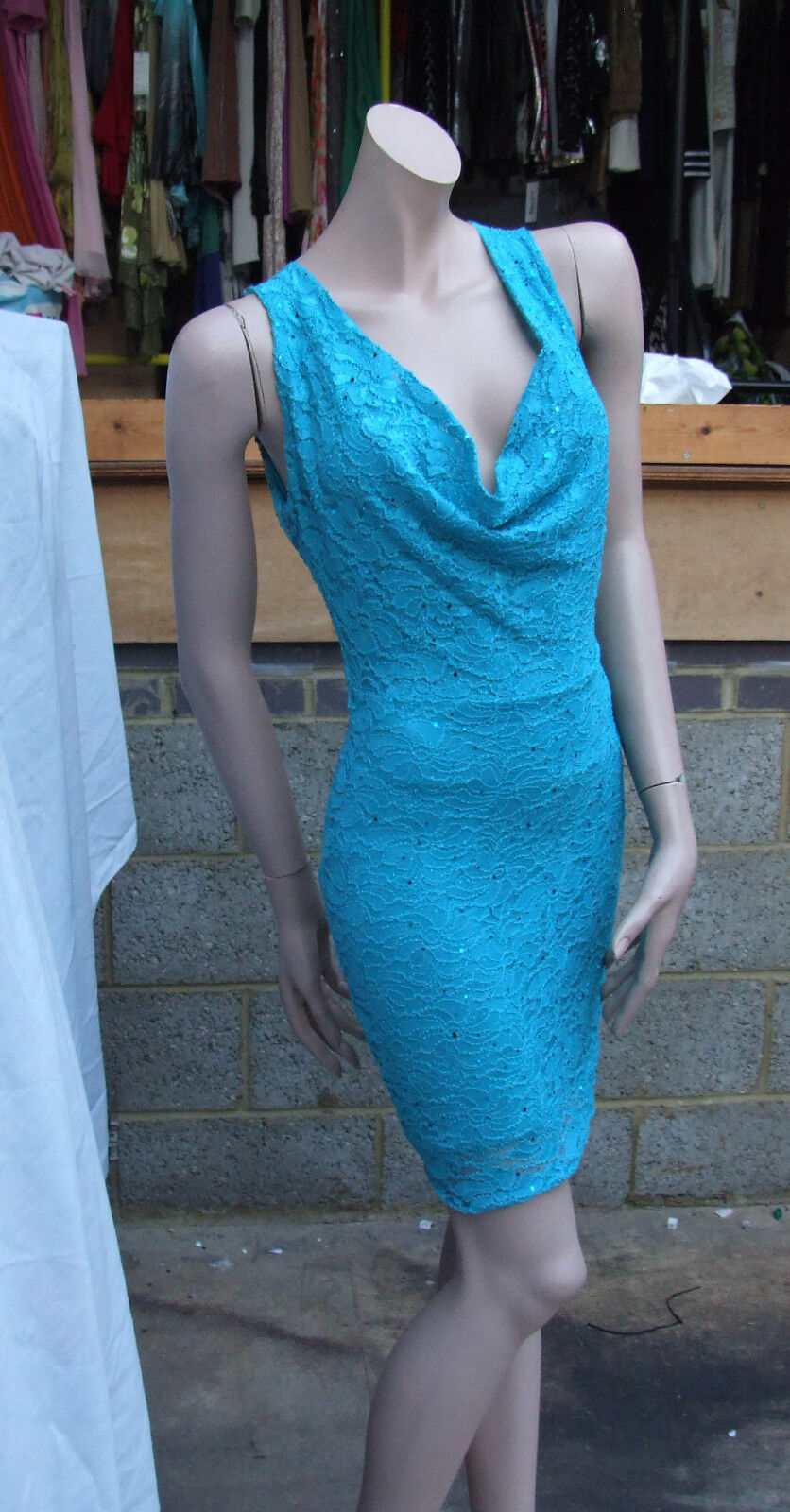 Exquisite Lipsy 8 BNWOT Turquoise Aqua-Marine Bling Sequin Sexy Divine Dress SEE