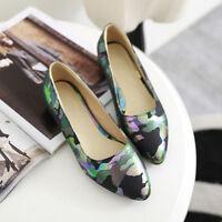 Womens Ladies Sweet Floral Print Slip On Low Heel Pumps Shoes UK Size 1--12 D665