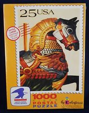 """1989 USPS Carousel Horse 25 Cent Stamp Puzzle By Colorforms 1000 Piece 23"""" x 29"""""""