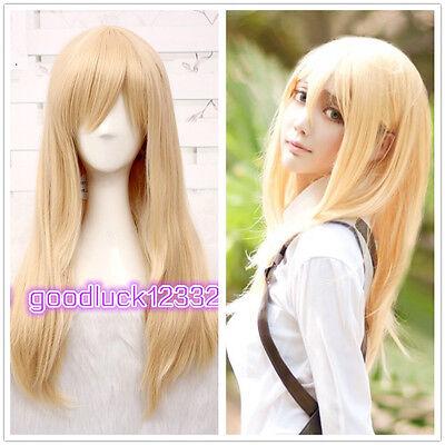 Attack on Titan Christa Renz 60cm Straight Blonde Cosplay Wig  + free Wig Cap
