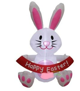 EASTER BUNNY WITH BANNER  AIRBLOWN INFLATABLE YARD DECORATION 5 FT