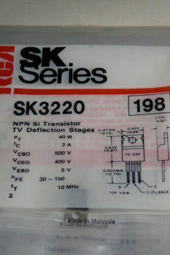 SK3220 NTE198 ECG198 LOT OF 2 PIECES NPN SILICON TRANSISTOR