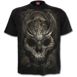 Spiral-Direct-NEW-DRACO-SKULL-T-Shirt-Biker-Skull-Wings-Dragon-Mournful-Tee-Top