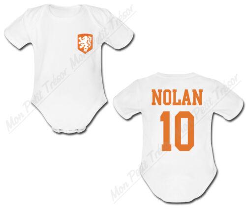 Body Bébé Football Maillot Pays Bas personnalisé avec prénom et numéro au dos