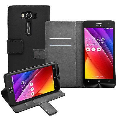 """Wallet BLACK Flip Case Cover For Asus ZenFone 2 Laser ZE500KL (5.0"""") (+2 FILMS)"""