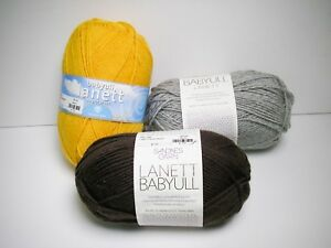 3-Skeins-of-Babyull-Lanett-Superwash-Merino-Wool-Yarn-Yellow-Gray-Brown