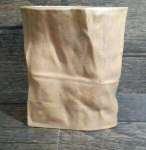 Vintage-Brown-Tan-Paper-Bag-Vase-Container-Planter-Pottery-Handmade-Art-Crinkle