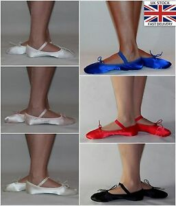 eedddb903916 Details about Satin Ballet Shoes Pink White Ivory Red Black Royal Blue  Brides Full Sole Sizes