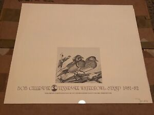 1981-82-Bob-Gillespie-Tennessee-Waterfowl-DUCK-Print-amp-Stamp-Set-in-Folio