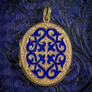 Antigua-victoriana-Antique-Victorian-18ct-Dorado-Oro-Azul-Esmalte-Medallon-Circa-1880
