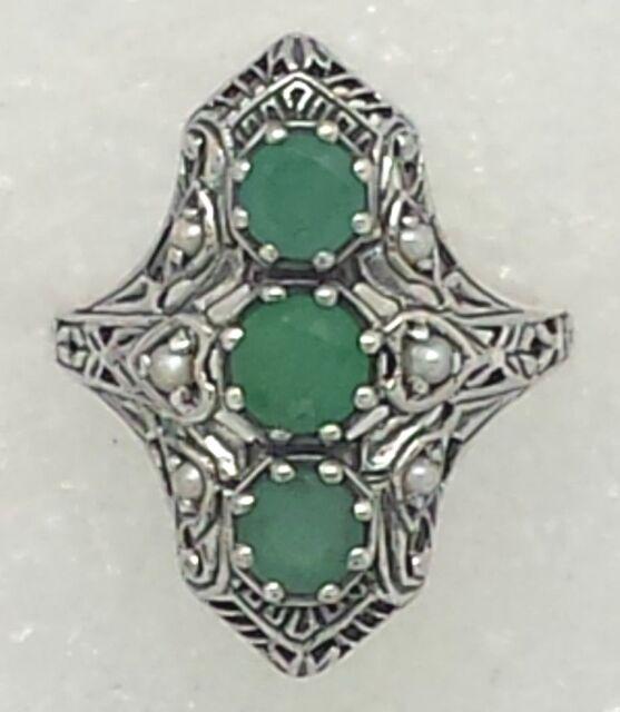 Smeraldo Seme Perla Smeraldi Anello Argento 925 Stile Antico