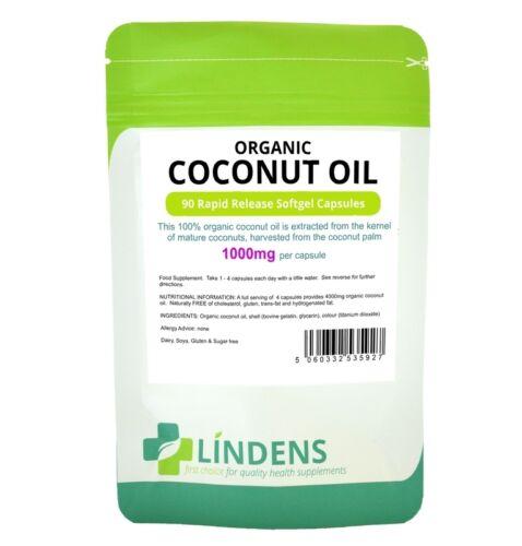 1 of 1 - Organic Coconut Oil 1000mg 90 Rapid Release Softgel Capsules Lindens Sugar Free