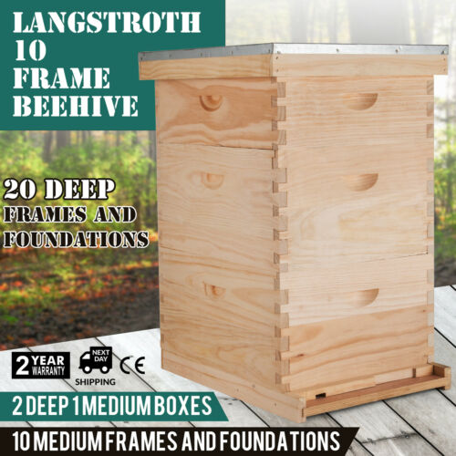 30 Frames Bee hive 3 Box Complete Beehive Kit(20 Deep & 10 Medium)Beehive Frames