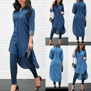 Women-039-s-Blue-Jeans-Denim-T-Shirt-Long-Sleeve-Casual-Loose-Shirt-Mini-Dress