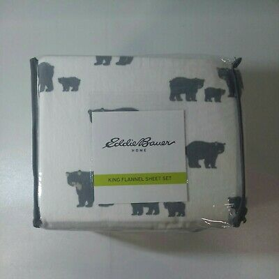 Eddie Bauer King Flannel Sheet Set Bear Family Gray Ebay