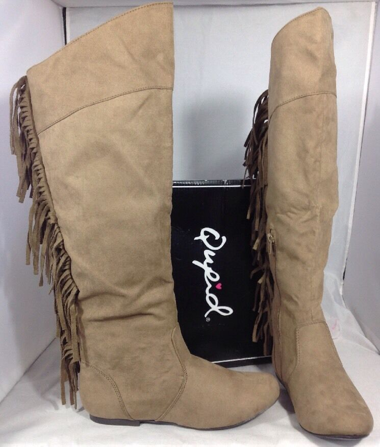 NEW QUPID Taupe Faux Leather Suede Cowboy Fringe Womens Boots Size 7 1 2 shoes