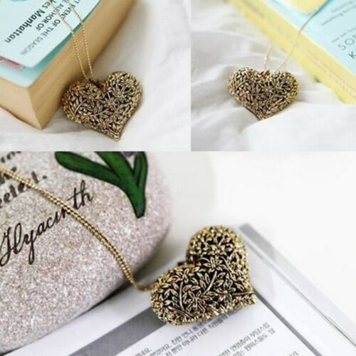 Carved Sweet Love Heart Shaped Hollow Necklace Long Necklace Fashion Pendants