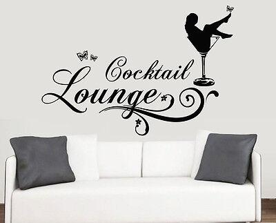 Cocktail Lounge Design Wall Art Vinyl Stickers Wine Glass Transfer Murals Decals
