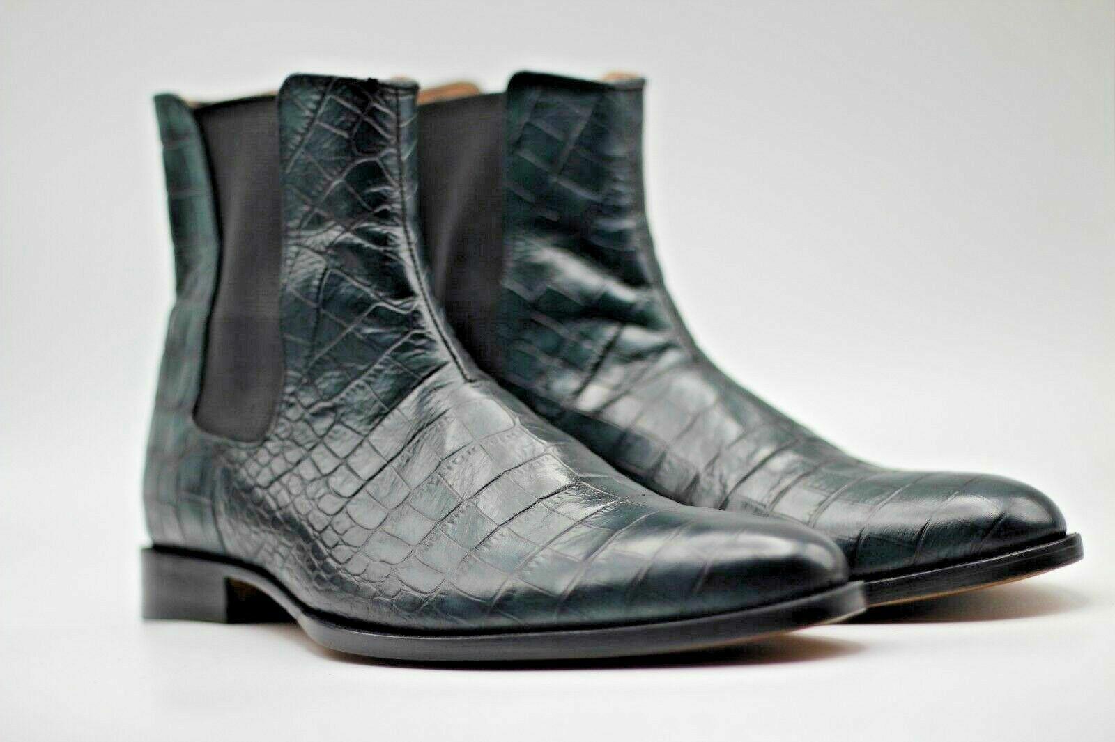 botas para hombre hecho a mano de cuero genuino Becerro verde sombreada Cocodrilo impresión Chelsea