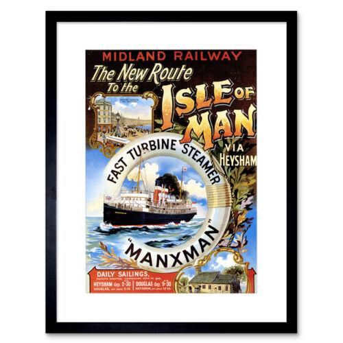 Línea De Barco De Viaje Barco Ferry Isla De Hombre Manx Reino Unido enmarcado impresión del mar de Irlanda 12x16 pulgadas