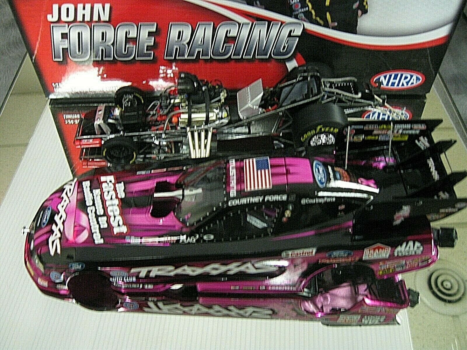 RARE  2013 COURTNEY FORCE TRAXXAS PINK COLOR CHROME TOP FUEL FUNNY CAR ONLY 246