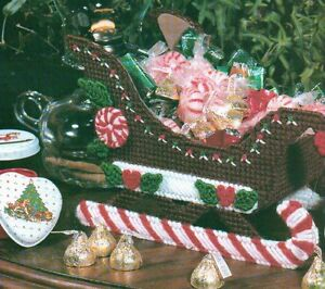 image is loading peppermint sleigh christmas candy dish plastic canvas pattern - Christmas Candy Sleigh