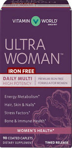 Vitamin World Ultra Woman Premium Multivitamin - Iron Free - 90 Caplets