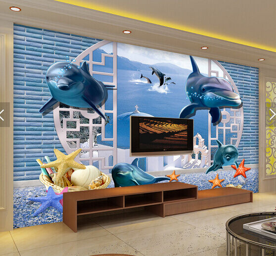 3D Bubble Starfish Dolphin 5 Paper Wall Print Wall Decal Wall Deco Indoor Murals