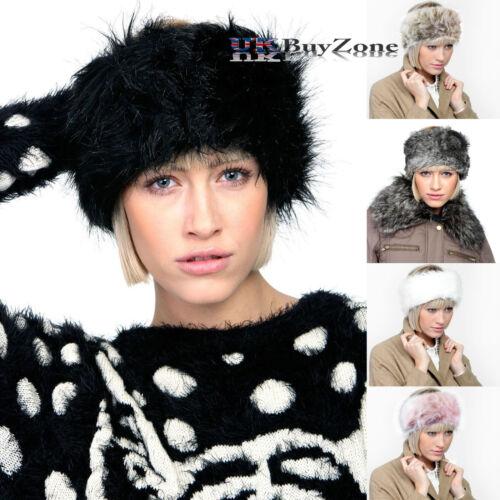 Mesdames filles fourrure synthétique Serre-tête Bandeau écharpe hiver plus chaud Chapeau oreille Manchons