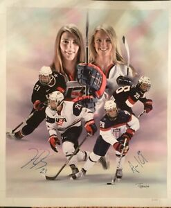 Amanda Kessel Hilary Knight Dual Signed 20x24 Canvas Autograph USA ...