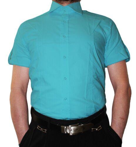 Designer Slimfit Chemise Homme Manches Courtes Slim Fit Coupe k14 2 bouton