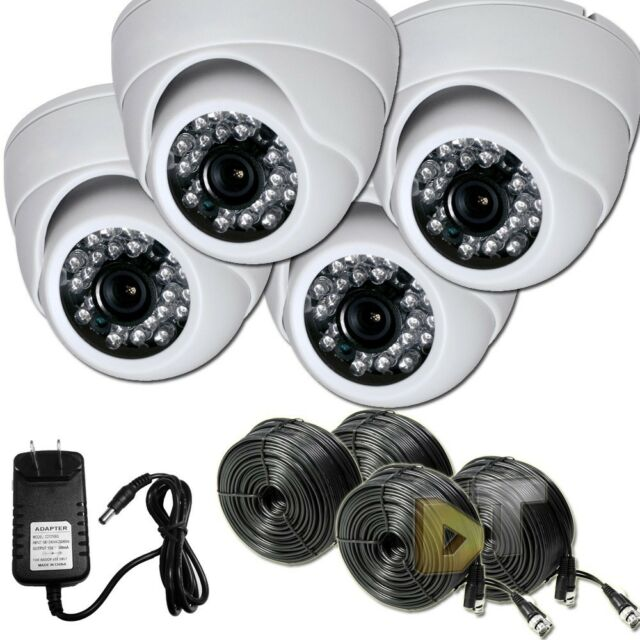 4 Surveillance Video CCTV Color IR Day Night White Dome Indoor Security Camera