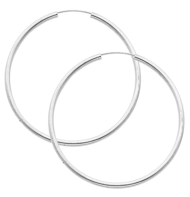 14k White Gold 2mm Thick Polished Extra Large Endless Hoop Earrings 60mm 2 3