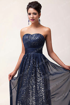 Luxury 30D Chiffon Sequins Evening Prom Party Homecoming Bridesmaid Dress UK6-20