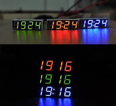 Digital LED Electronic Clock Uhr Zeit + Thermometer + Voltmeter for 12v 24V Auto