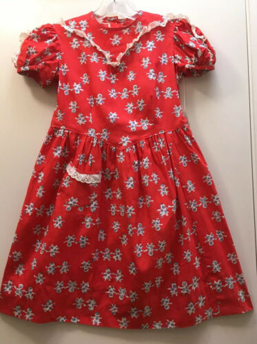 Vtg Dress 40s Cotton Flowers NWT Lace Prairie Red