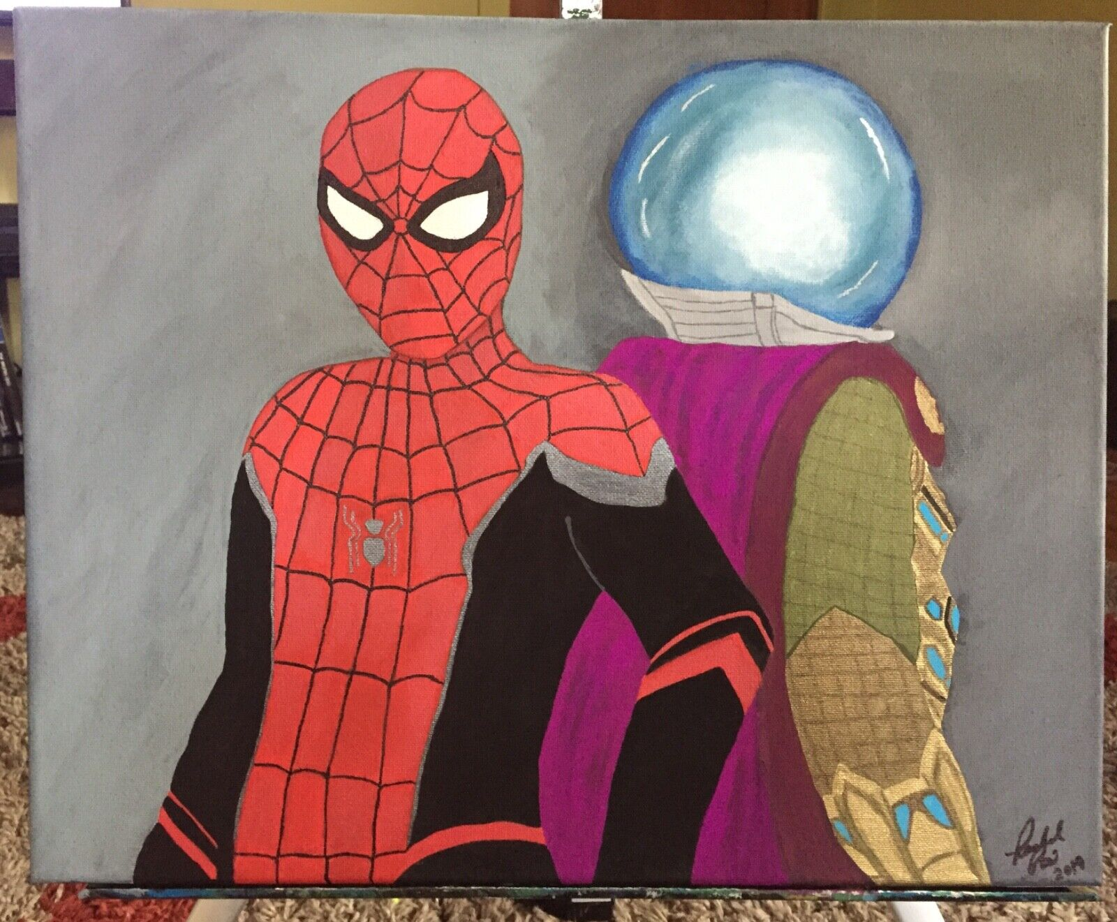 original artwork for sale by artist, Spiderman painting, fan art, comic art 1
