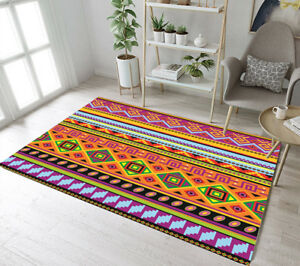 Colorful ethnic pattern mexican ornament area rugs living - Colorful rugs for living room ...