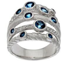 Judith Ripka Sterling London Blue 5 Band Ring Size 10 NEW IN J. RIPKA BOX