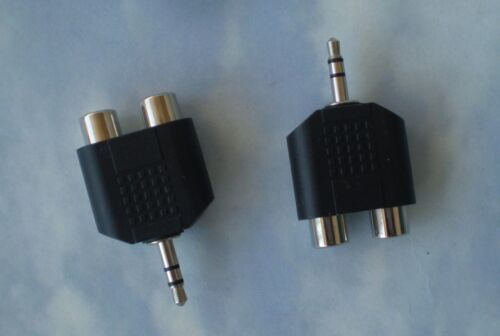 TWO Adapters 3.5mm Audio Headphones Jack to 2 RCA Splitter Adapter