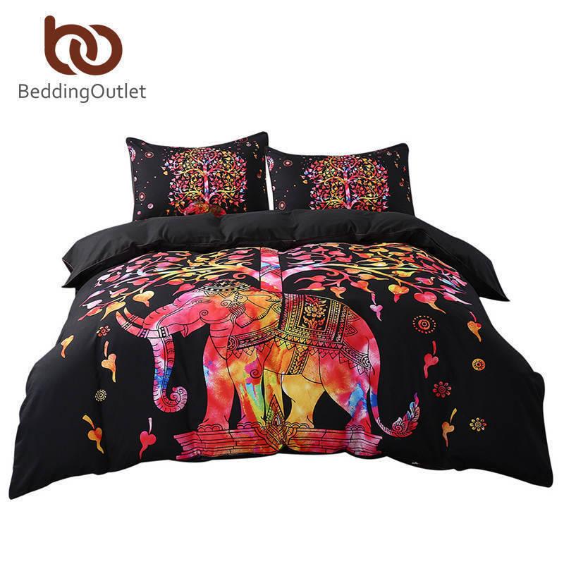 5pcs Bed in a Bag ColGoldt Elephant Bedding Set Tree Pattern Bohemia Bedspread Bl