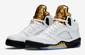 quality design 092e2 3e28c Details about Nike Air Jordan Retro 5 Olympic Gold Coin Size 3.5-18 White  Black 136027-133