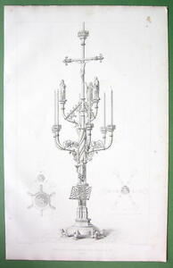BELGIUM-Seven-Branched-Candelabrum-at-Church-of-Leau-FOLIO-Antique-Print