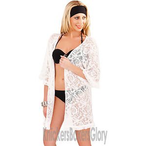 Womens-Ladies-Crochet-Tassel-Fringe-Beach-Top-Kimono-Wrap-Cover-Up-Size-S-M-L