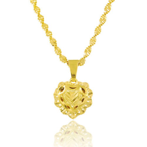 """24K Yellow Gold Plated Love Heart Pendant Women Necklace Jewelry 18.4/"""" JP145"""