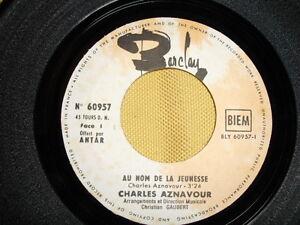 Charles-Aznavour-Au-Nom-De-La-Jeunesse-45-RPM-7-039-039-SANS-POCHETTE