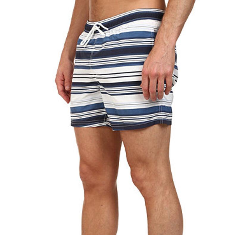 New Mens Lacoste Poplin Navy White Horizontal Stripe 5   Swim Trunks Shorts XL