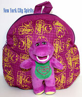 Barney Plush Backpack With 2 Side Pockets