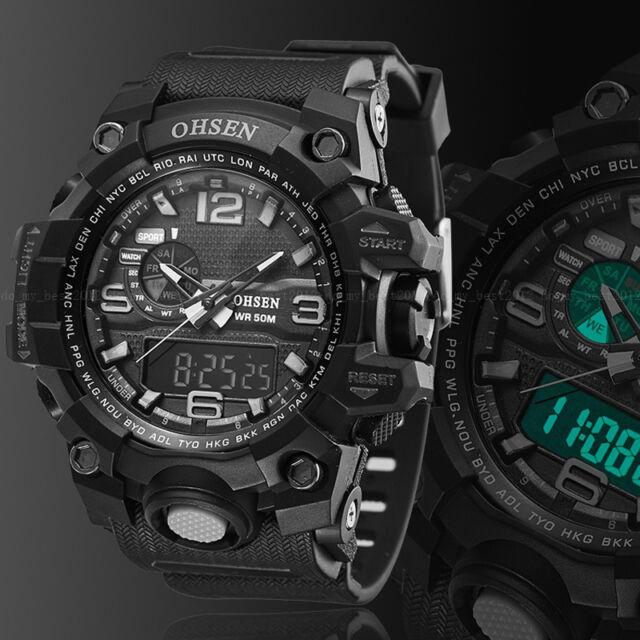 OHSEN Digital G Sport Quartz Military Watch Chronograph Water proof Shock Black