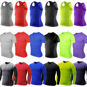 Men-039-s-Compression-Fitness-Base-Layer-Gym-Sport-Gym-Tights-Shirt-Tee-Tops-T-Shirt